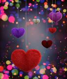 Abstract colorful furry hearts. Decorated with colorful bokeh light for valentine,3d rendering vector illustration