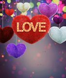 Abstract colorful furry hearts with marquee love letters. Decorated on colorful background for valentine,3d rendering vector illustration