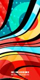 Geometric colorful strips abstract background design template. Abstract colorful geometric background design layout template with blended multiple ribbons royalty free illustration