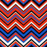 Abstract colorful geometric chevron seamless pattern in blue and orange, vector Stock Images