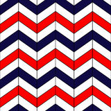 Abstract colorful geometric chevron seamless pattern in blue red and white, vector. Background Royalty Free Stock Photos