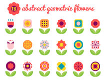 18 abstract colorful geometric flowers. Abstract geometric flowers,flat design flower icons stock illustration