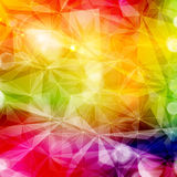 Abstract colorful geometric pattern. With various light effects. Copy space. Bright, saturated and vivid rainbow colors Stock Photo