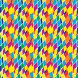 Abstract colorful geometric rough spotty rhombus  seamless pattern. Stock Image