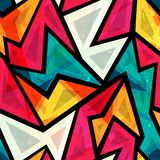 Abstract colorful geometric seamless pattern with grunge effect. (eps 10 stock illustration