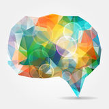 Abstract Colorful Geometric Speech Bubble With Bubbles And Triangular Polygons Stock Photos