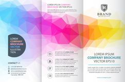 Abstract colorful geometric trifold brochure design template. Creative brochure vector template. Modern design, flyer business template in a material design royalty free illustration