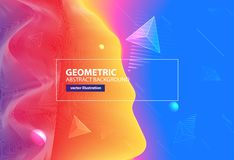 Abstract colorful geometric wave background. Vector illustration. 3d effect landscape royalty free illustration