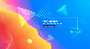 Abstract colorful geometric wave background. Vector illustration. 3d effect landscape vector illustration