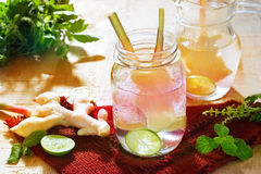 Abstract colorful ginger with lemon detox water and herb Stock Images