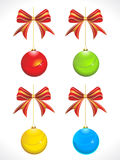 Abstract colorful glossy christmas balls with bow Royalty Free Stock Photography