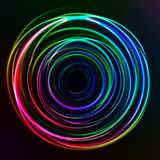 Abstract colorful Glow Circles on dark background. Vector illustration Stock Images