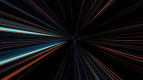 Abstract colorful glowing lasers forming speed tunnel on black background, seamless loop. Animation. Motion graphic