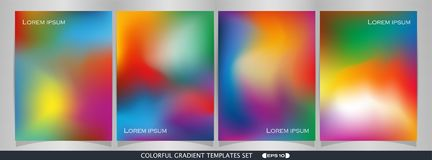 Abstract of colorful gradient template set background. Abstract of colorful gradient template set background, illustration vector eps10 royalty free illustration