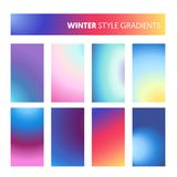 Abstract Colorful Gradients in Winter Cold Colors. Modern Screen Wallpaper, Background, Design for Screen Mobile Royalty Free Stock Images