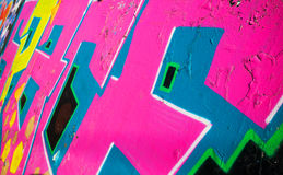 Abstract colorful graffiti fragment over old wall Royalty Free Stock Photography