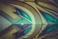 Abstract colorful graffiti reflection in the water Stock Photo
