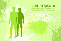 Abstract Colorful Green Background Human. Silhouette Man with Copy Space Vector Illustration Stock Photo