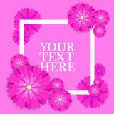 Abstract Colorful Greeting card with place for your text. Holiday background with paper cut Flowers. Trendy Design Stock Photo