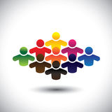 Abstract colorful group of people or students or c. Hildren - concept vector. The graphic also represents people icons in various colors forming a community of Royalty Free Stock Image