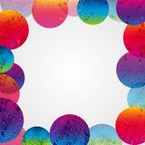Abstract colorful grunge circles frame on a white background royalty free stock photo
