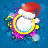 Abstract colorful grunge circular frame with  Red Santa Claus Ha Stock Images