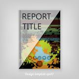 Abstract colorful Grunge Report cover template design with orang. E splashes. Business brochure document layout for company presentations Royalty Free Stock Images