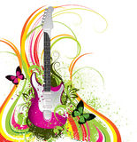 Abstract colorful guitar. An illustration of a pink electric guitar with abstract floral and butterfly designs Stock Photos
