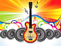 Abstract colorful guitar with sound concept Royalty Free Stock Images