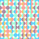 Abstract colorful half circles seamless geometric pattern in vector on white background. Soft orange, green colored shapes circles vector seamless pattern Royalty Free Illustration
