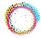 Abstract colorful halftone paintbrush swirl circle isolated Royalty Free Stock Images