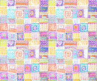 Abstract colorful hand drawn squares background Royalty Free Stock Photography