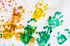 Abstract colorful hand print on white paper background. art of k Royalty Free Stock Photo