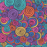 Abstract Colorful Hand Sketched Swirls Seamless Background Pattern Stock Photos