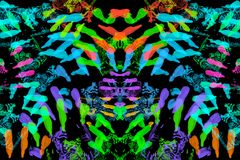 Abstract colorful handprint isolated on black background.  Stock Photos