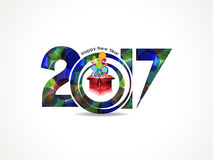 Abstract colorful happy new year background with magic box. Vector illustration Royalty Free Stock Photo
