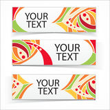 Abstract colorful headers or banners set. Vector ornamental elements Stock Images