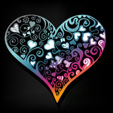 Abstract colorful heart. On black background Stock Photo