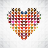 Abstract colorful heart background. Abstract heart shape background made by triangles Stock Photos
