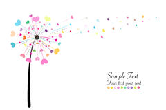 Abstract colorful heart dandelion spring time vector background Royalty Free Stock Photo