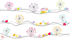 Abstract colorful heart dandelion spring time vector background Royalty Free Stock Image