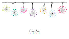 Abstract colorful heart dandelion spring time vector background Stock Images