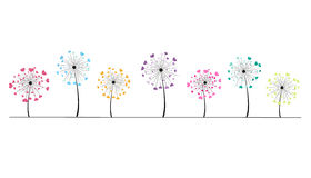 Abstract colorful heart dandelion spring time vector background Stock Photo
