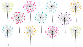 Abstract colorful heart dandelion spring time vector background Stock Photography