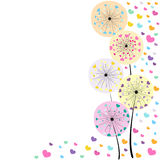 Abstract colorful heart dandelion spring time vector background Royalty Free Stock Photos
