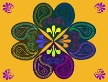 Abstract colorful heart flower doodles background  Stock Photo