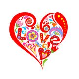 Abstract colorful heart with flowers Royalty Free Stock Image