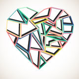 Abstract colorful heart. Abstract geometric colorful heart over white, Valentine card design Stock Photo