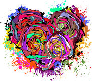 Abstract colorful heart of roses. Stock Images