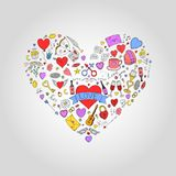 Abstract colorful heart with valentines day doodle elements. Holiday card, background.  Stock Image